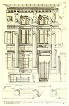 Elevation detail for the Ashmolean and Taylorian Institute, Oxford