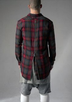 Plaid back zipper detail shirt PACNW  Street holdingco Fashion Urban Haberdash