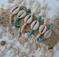 cowrie shell bracelet  turquoise beaded bracelet by beachcombershop on Etsy, $14.00
