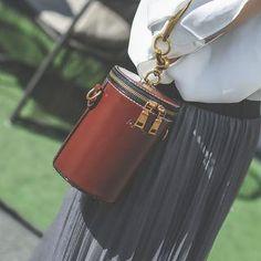 YesStyle - Youshine Cylinder Crossbody Bag with Metal Circle Handle - AdoreWe.com