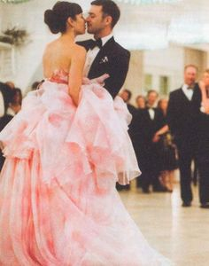 Jessica Biel's pink wedding dress