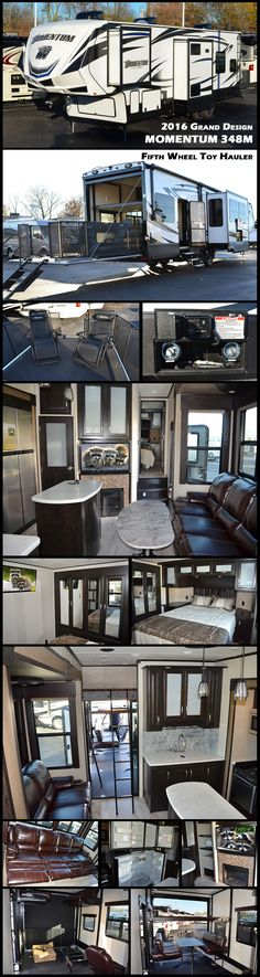 2016 Grand Design Momentum Toy Hauler - - New Fifth Wheel RV for sale in North Tonawanda, New York. Toy Hauler Travel Trailer, Travel Trailer Camping, Camping Glamping, Camping And Hiking, Travel Trailers, Mobile Garage, Rv Floor Plans, Rv Accessories, Airstream Trailers