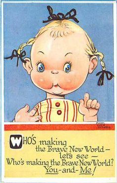 Mabel Lucie Attwell Brave New World Little Girl Wearing Ribbons K62053 | eBay