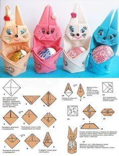 diy folded bunny holding egg tutorial, instruction. Follow on Facebook: on.fb.me/1rS94F4