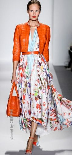 A bit too matchy-matchy...but I like the bold colors, square lines of the jacket and fluid floral skirt with a bright strappy sandal.  CESPINS❤    SPRING 2014 READY-TO-WEAR Dennis Basso