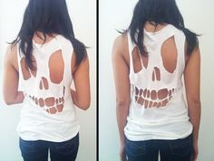 DIY tutorial for a cut-out skull tshirt. - Click image to find more DIY & Crafts Pinterest pins