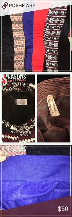 4 pair of seasonal plus sized leggings 4 pair of plus sized holiday leggings. Dark reindeer pair and red pair worn once (in excellent used condition) and blue pair and light reindeer pair are brand new. All plus size 1xl/2xl. All high quality fleece lined. Soft, cozy, and warm. Retail $25 per pair. Pants Leggings