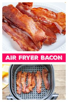 Air Fryer Bacon- Can you cook bacon in an air fryer? Yes, you can make bacon in the air fryer and it's so easy! Steps on how to make bacon in air fryer. Air Fryer Recipes Wings, Air Fryer Recipes Appetizers, Air Fryer Recipes Snacks, Air Fryer Recipes Low Carb, Air Frier Recipes, Air Fryer Recipes Breakfast, Air Fryer Dinner Recipes, Breakfast Sandwiches, Air Fry Bacon