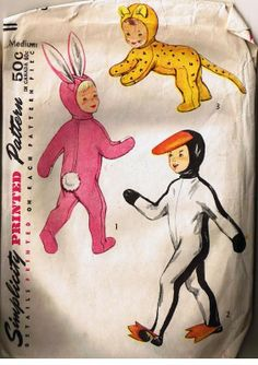 1950's Simplicity Children's Halloween Costume Pattern, Pink Bunny Rabbit, Hare, Tiger, Lion, Pinguin, Cotton Tail, Size Medium, Pattern 4073
