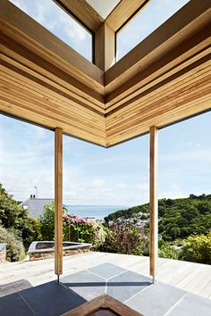 House Extension and Refurbishment at Grey Wings, Cornwall – Living Space Architects: Award-winning RIBA Architects based in Exeter, Devon Oak Framed Extensions, House Extensions, Floating Canopy, Oak Framed Buildings, Oak Frame House, New Builds, Future House, Architecture Design, Living Spaces