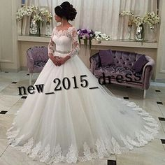 White Ivory Lace Long Sleeve Ball Gown Wedding Dresses Bridal Gowns Custom Size in Clothing, Shoes & Accessories, Wedding & Formal Occasion, Wedding Dresses | eBay