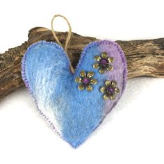 Felt hanging padded heart in lilac, blue and grey merino wool (3) £4.00