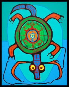 Turtle Island (the Ojibwa and some other First Nations people, refer to the world as Turtle Island) - Norval Morrisseau - Native Canadian, Canadian Artists, Native American Art, Inuit Kunst, Inuit Art, Woodland Art, Whimsical Art, Native Symbols, Kunst Der Aborigines