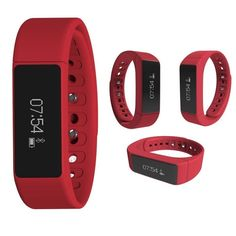 Waterproof Watch Smart Bracelet Bluetooth 4.0 Touch Screen Fitness Tracker Health Sport Wristband Sleep Monitor TPU Material (red? * For more information, visit image link.