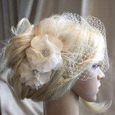 Ivory Silk organza flowers hair clip and birdcage veil