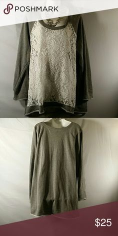 NWOT * Sweatshirt * Plus Size Beautiful * Gray/Off White * Long Sleeve * Lace Front (See-through) * Cotton Polyester and Spandex * Bundle and Save Torrid Sweaters