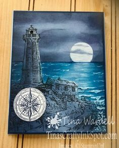 Interactive Lighthouse Card~Video Tutorial ⋆ Tina Wardell~Stampin' Up! Independent Demonstrator Interactive Lighthouse Card~Video Tutorial ⋆ Tina Wardell~Stampin' Up! Independent Demonstrator - Come Sail Away Fabric Stamping, Stamping Up Cards, Card Making Tutorials, Making Ideas, Pinguin Illustration, High Tide Stampin Up, Stampin Up Karten, Nautical Cards, Masculine Birthday Cards