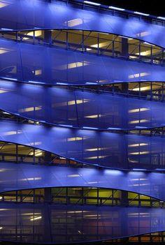 Cardiff Bay Car Park by Light Bureau Architects who chose Serge Ferrari flexible composite membrane for this amazing facade.