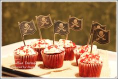 Pirate flag-topped mini Red Velvet Cupcakes, using stamps from Inspired By Stamping.
