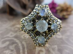 Moonstone and CZ Sterling Silver & Brass Ring