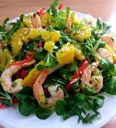 Σαλάτα με γαρίδες και σως πορτοκαλιού Seaweed Salad, Ethnic Recipes, Food, Essen, Meals, Yemek, Eten
