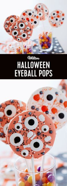 Make these super easy Eyeball Pops as fun treats to make for Halloween! Simply melt orange and white Candy Melts candy and decorate with eyeball candy and sprinkles. Makes 12 treats!