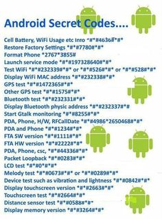 Best 11 Top 40 Android Secret Codes for your mobile phone ~ Electrical Engineering Pics – SkillOfKing. Iphone Hacks, Android Phone Hacks, Cell Phone Hacks, Smartphone Hacks, Android Secret Codes, Android Codes, Life Hacks Websites, Useful Life Hacks, Telefon Codes