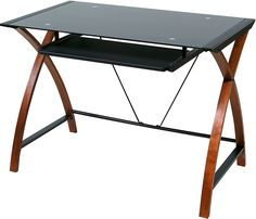 online shopping for OneSpace Glass Wood Computer Desk Pullout Keyboard Tray from top store. See new offer for OneSpace Glass Wood Computer Desk Pullout Keyboard Tray Home Office Furniture, Home Office Decor, Office Desk, Furniture Design, Wood Computer Desk, Computer Workstation, Computer Keyboard, Desks For Small Spaces, Glass Office