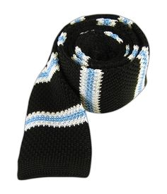 Knit Country Stripe - Black/Sky - Knit Country Stripe - Black/Sky - Browse our Bow Ties, Cufflinks, Pocket Squares and Tie Bars
