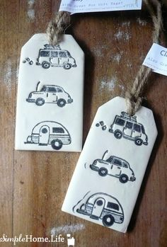 Car, Van and Camper Clay Tag -Ornament, Gift Wrap, Decoration & More
