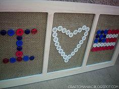 patriotic button and burlap decor