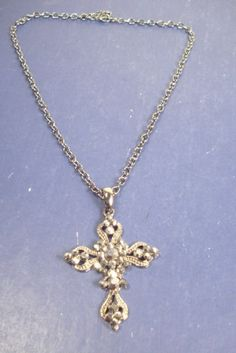 """Wholesale Jewelry - CROSS NECKLACE w/ 2"""" Crystal Stone Cross *** ONLY $3.00 ***"""