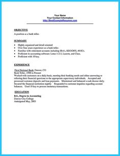 cool learning to write from a concise bank teller resume sample check more at http - Resume Samples For Bank Jobs