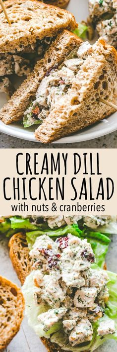 Creamy Dill Chicken Salad with Nuts and Cranberries – Easy, delicious, and wonderfully creamy chicken salad packed with nuts and cranberries mixed in a zesty blend of yogurt, mayo, and dill. #chickensalad #picnic #grilling #appetizer #recipeoftheday #chickenrecipes #salad #sandwich #lettucewraps #healthyrecipes