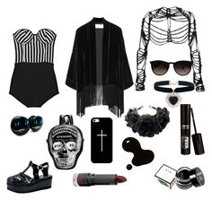 """""""beach black"""" by vitoria2012 ❤ liked on Polyvore featuring Rosa Cha, Emilio Pucci, Maison Margiela, Ray-Ban, Rock 'N Rose, Casetify, Monki, NYX, women's clothing and women's fashion"""
