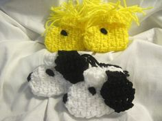A Dog And His Best Friend Crocheted Baby Booties (Snoopy and Woodstock) 0-3mo Size