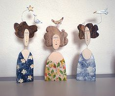 Lynn Muir Lynn sculpts whimsical figures in wood, mainly from driftwood gathered from th.Risultati immagini per lynn muir sculpture Wood Crafts, Diy And Crafts, Arts And Crafts, Paper Crafts, Paper Clay, Clay Art, Paper Art, Paper Dolls, Art Dolls