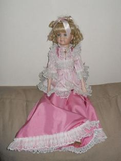 "Complete Porcelain doll with outfit 25"" tall. find me at www.dandeepop.com"