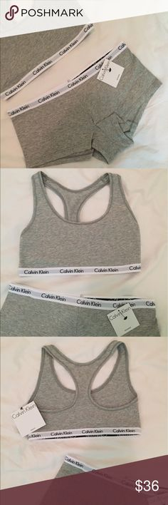 Calvin Klein Set! bra and boy shorts in grey ⭐️ sexy comfort at its best! Complete set for chic loungewear look!!  the bra is racerback - scoop neck & lined , boy short panty and bra both have elasticized Calvin Klein logo band - lined  Fits true to size  90% cotton, 10% elastane  trades Calvin Klein Intimates & Sleepwear Bras