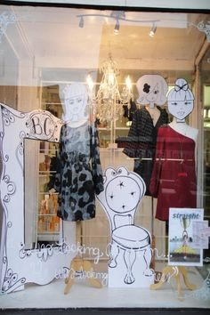 Creative Window Display (via JCInstitute.com) I can see these cut out forms wearing hats #millinery #judithm #hats