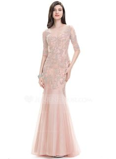 Trumpet/Mermaid V-neck Sweep Train Zipper Up Covered Button Sleeves Sleeves No Dusty Rose Winter Spring Summer Fall General Plus Tulle US 2 / UK 6 / EU 32 Evening Dress Chiffon Evening Dresses, Cheap Evening Dresses, Tulle Prom Dress, Unique Dresses, Evening Gowns, Short Bridesmaid Dresses, Lace Bridesmaid Dresses, Wedding Party Dresses, Prom Dresses