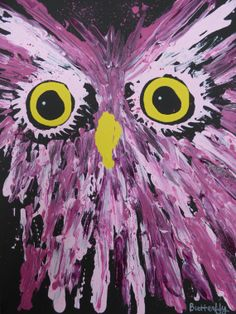 Pink Owl Original Acrylic Painting by ARTBYBUTTERFLY on Etsy, $150.00