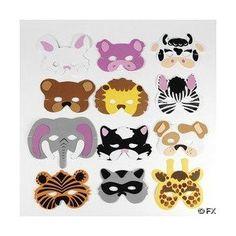 12 Asst. Kids Foam Animal Face Masks Zoo Farm Party $6.25 (37% OFF)