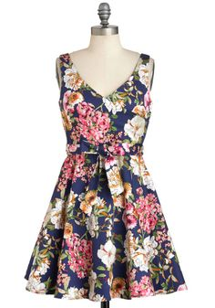 Its Bouquet with Me Dress - Cotton, Short, Blue, Multi, Floral, Belted, Daytime Party, Fit & Flare, Sleeveless, Graduation
