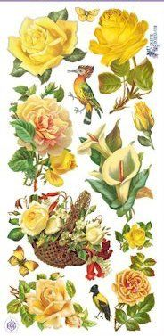 Yellow Rose Victorian Stickers - Victorian Stickers - Roses And Teacups