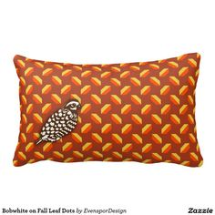 Bobwhite on Fall Leaf Dots Throw Pillows