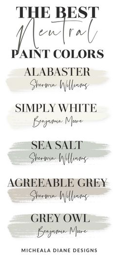 The best neutral farmhouse style paint colors. Benjamin Moore and Sherwin Williams paint colors. #alabaster #seasalt #agreeablegray Fixer Upper Paint Colors, Best Neutral Paint Colors, Neutral Color Scheme, Paint Colors For Home, Agreeable Gray, Farmhouse Paint Colors, Grey Paint, Blog, Farmhouse Style