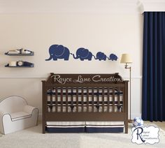 Elephant Family 4 Elephants Decal Nursery by RoyceLaneCreations