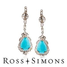 C. 2000 Vintage Turquoise, .70ct t.w. Diamond Earrings In Gold Romantic Gifts