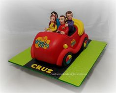 This is the cake I have made for little Cruz who is turning He is a big fan of The Wiggles and his mum thought the Big Red Car along with the 'new' Wiggles would be perfect for his birthday. This cake caters for 40 desert / 80 coffee sized portions. Wiggles Cake, Wiggles Party, Wiggles Birthday, The Wiggles, Cake Central, New Cake, Birthday Party Themes, Birthday Cakes